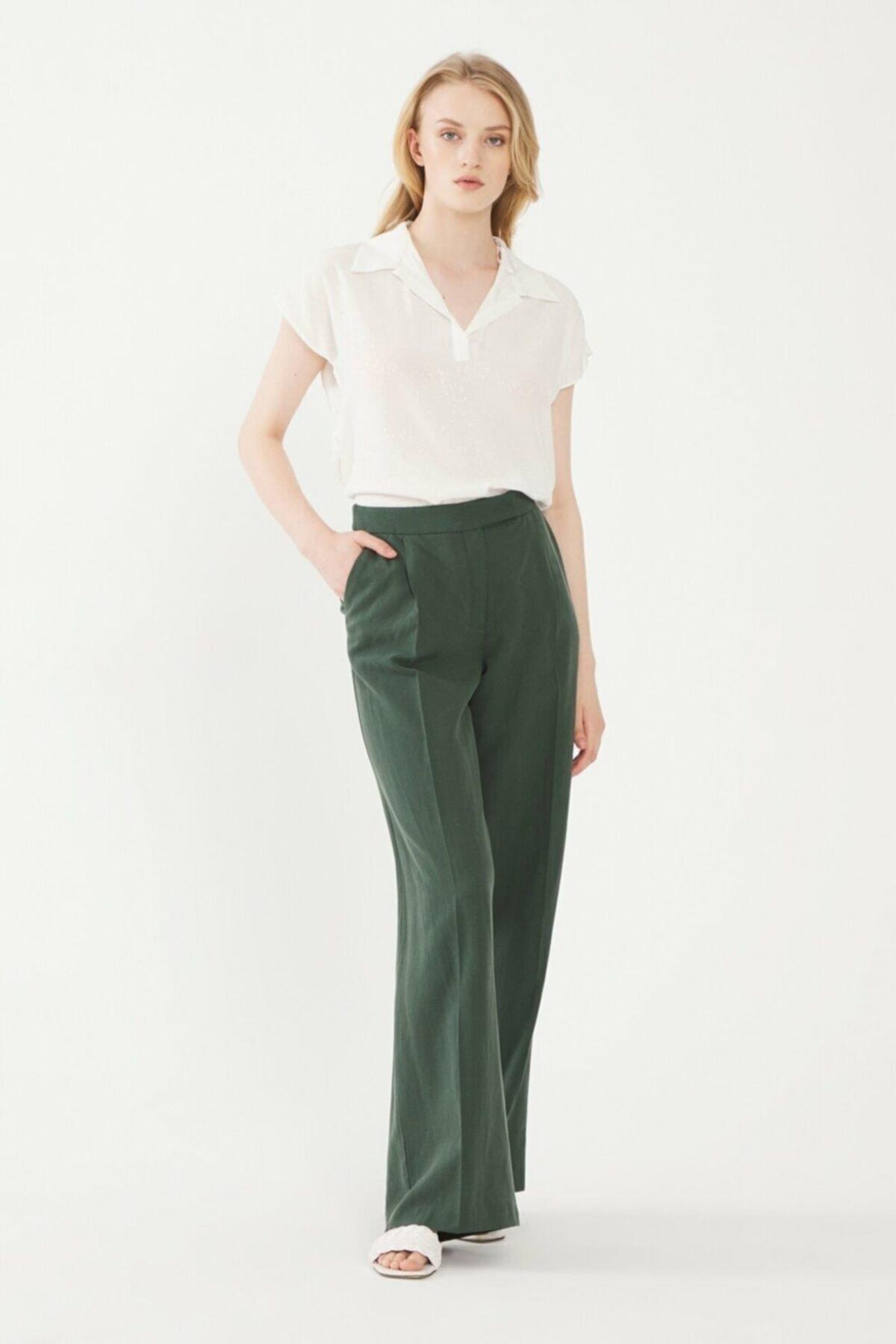 adL Kadın Yeşil Beli Lastikli Pantolon 15338560000009 2