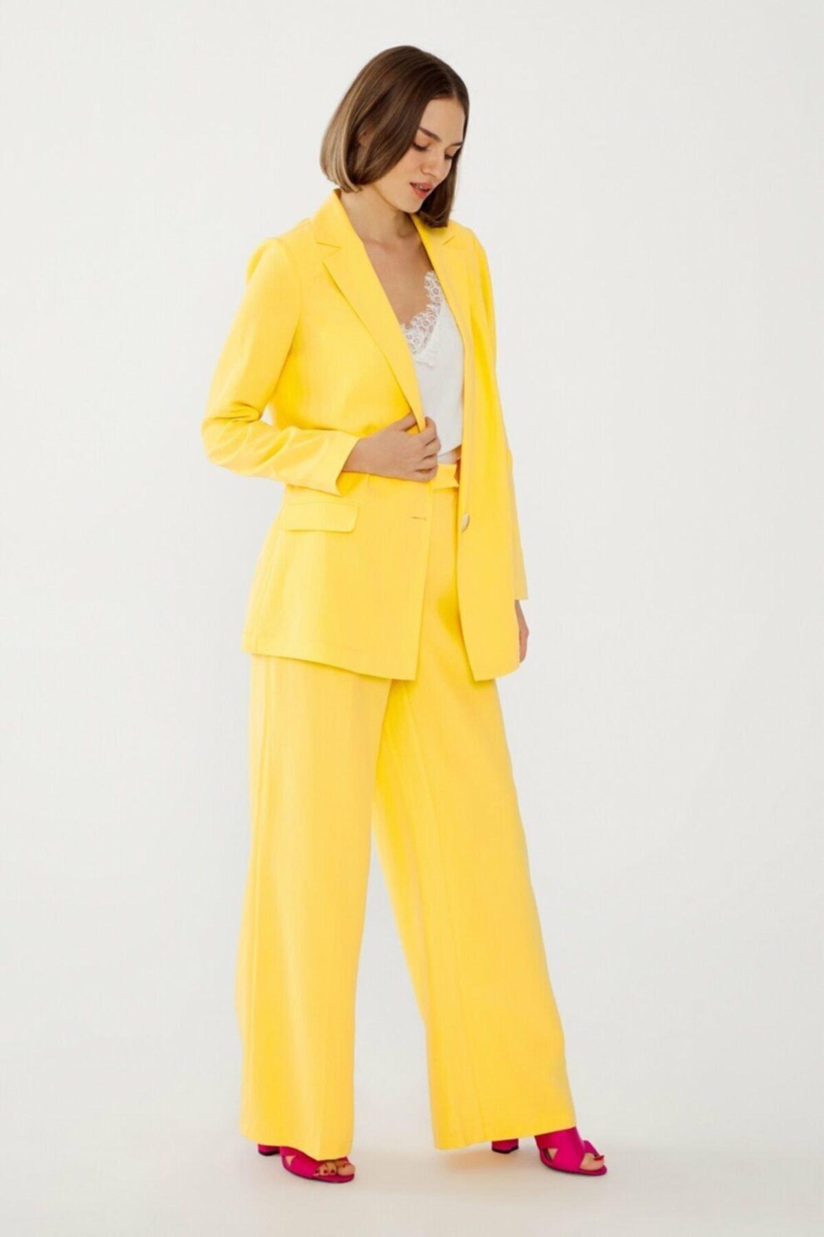 adL Kadın Sarı Beli Lastikli Pantolon 15338560000004 1