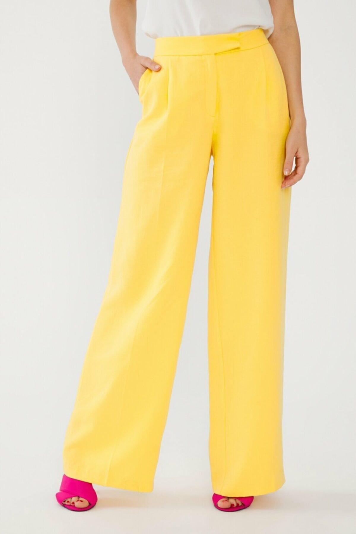 adL Kadın Sarı Beli Lastikli Pantolon 15338560000004 2