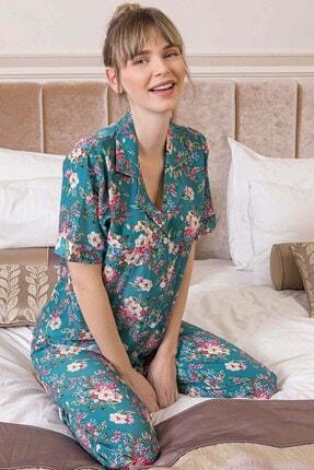 Lohusa Sepeti Kadın Yeşil Giardino Önden Düğmeli Pijama Takımı