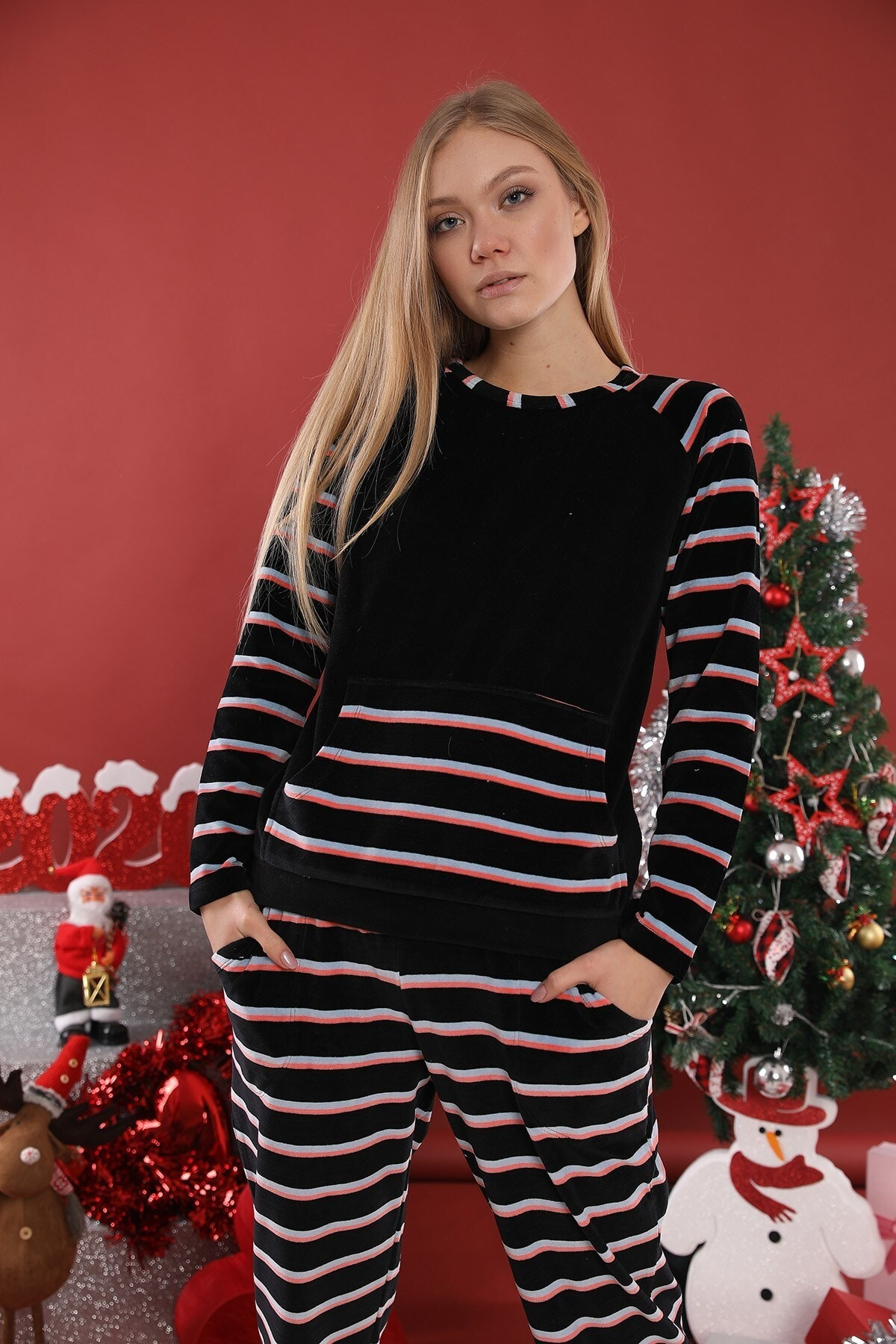Lohusa Sepeti Kadın Siyah  Şeritli Kadife Pijama Takımı 1