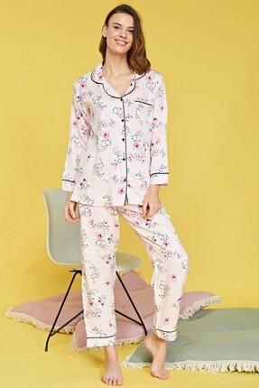 Lohusa Sepeti Kadın Bej Ihlamur Çiçekli Önden Düğmeli Pijama Takımı