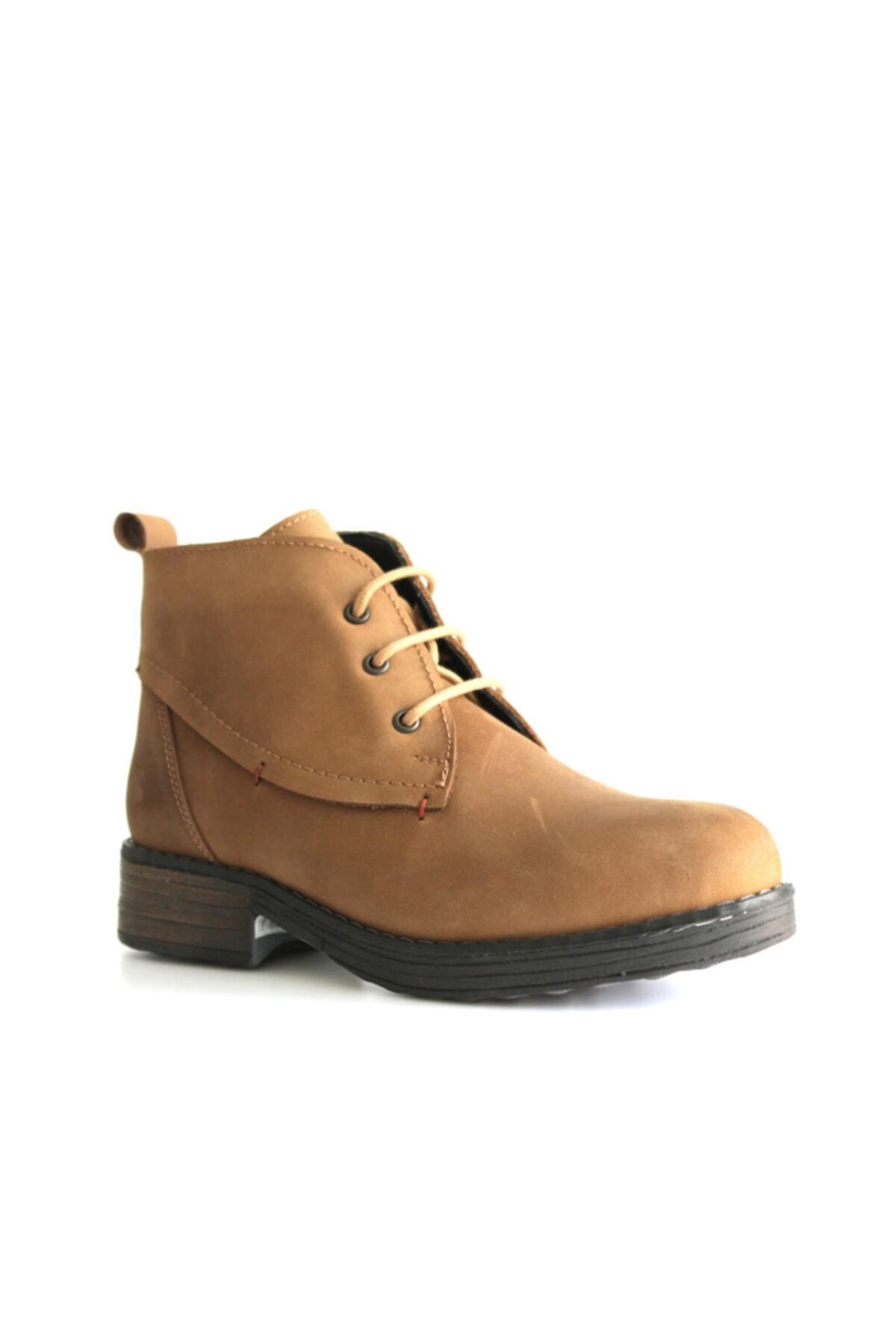 Beta Shoes Bot Hakiki Deri Kadın Vizon 1