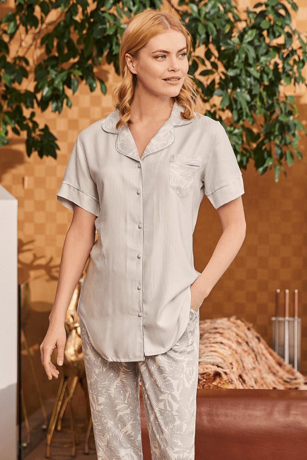 Lohusa Sepeti Kadın Carina Mavi Önden Düğmeli Pijama Takımı 1
