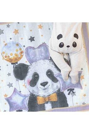 NİLUE BABY&MOM Nilue %100 Organik Pamuk Panda Müslin Örtü - Gots Sertifikalı-
