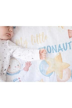 NİLUE BABY&MOM Nilue %100 Organik Pamuk Astronaut Müslin Örtü - Gots Sertifikalı-