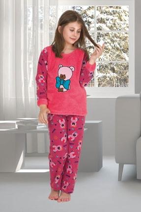 Penyelux Kız Çocuk Pembe Bear Polar Pijama Takımı