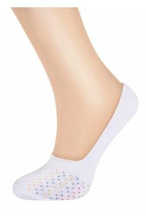 SUWEN Kadın Ekru Dot Babet Çorap