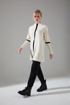 Mizalle Kadın Ekru Şerit Detaylı Triko Tunik