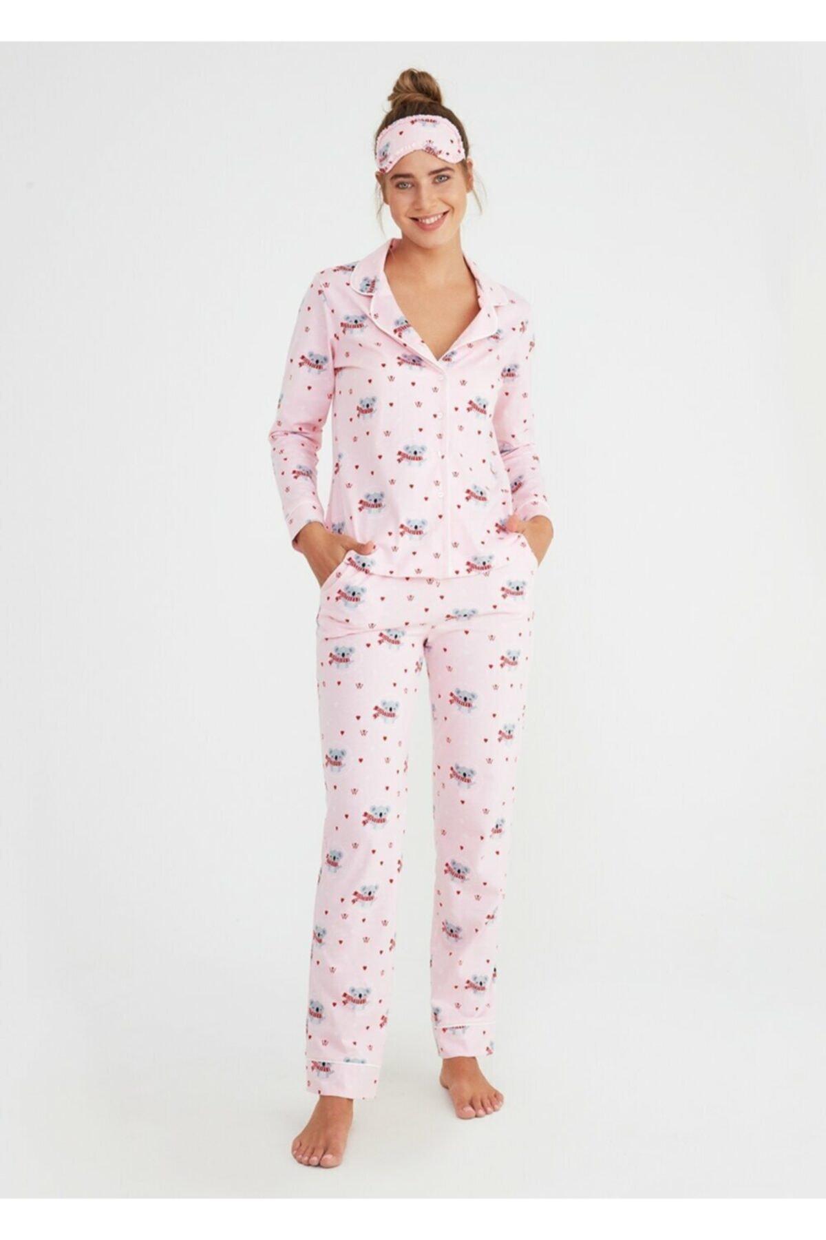 SUWEN Kadın Pembe Koalina Maskulen Pijama Takımı 1