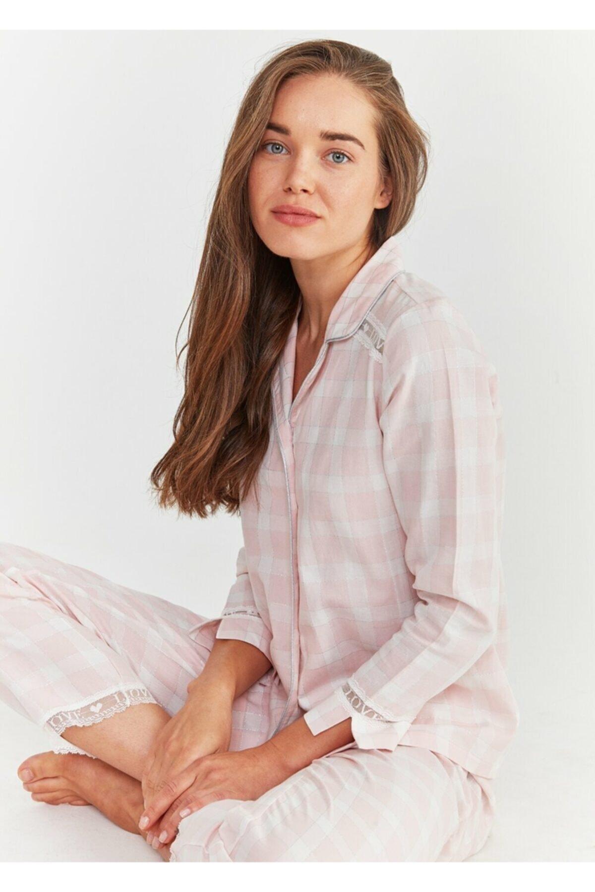 SUWEN Kadın Pembe Ekoseli Sofia Maskulen Pijama Takımı 2