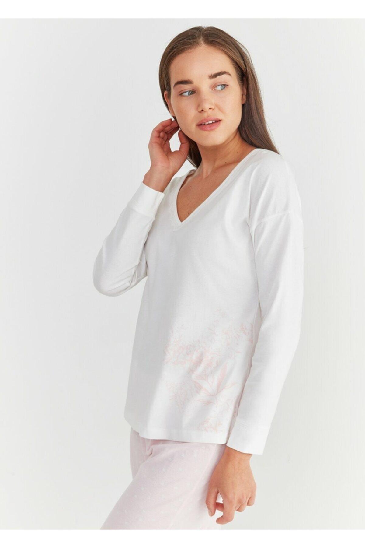 SUWEN Kadın Pembe Baskılı Lily Pijama Takımı 2