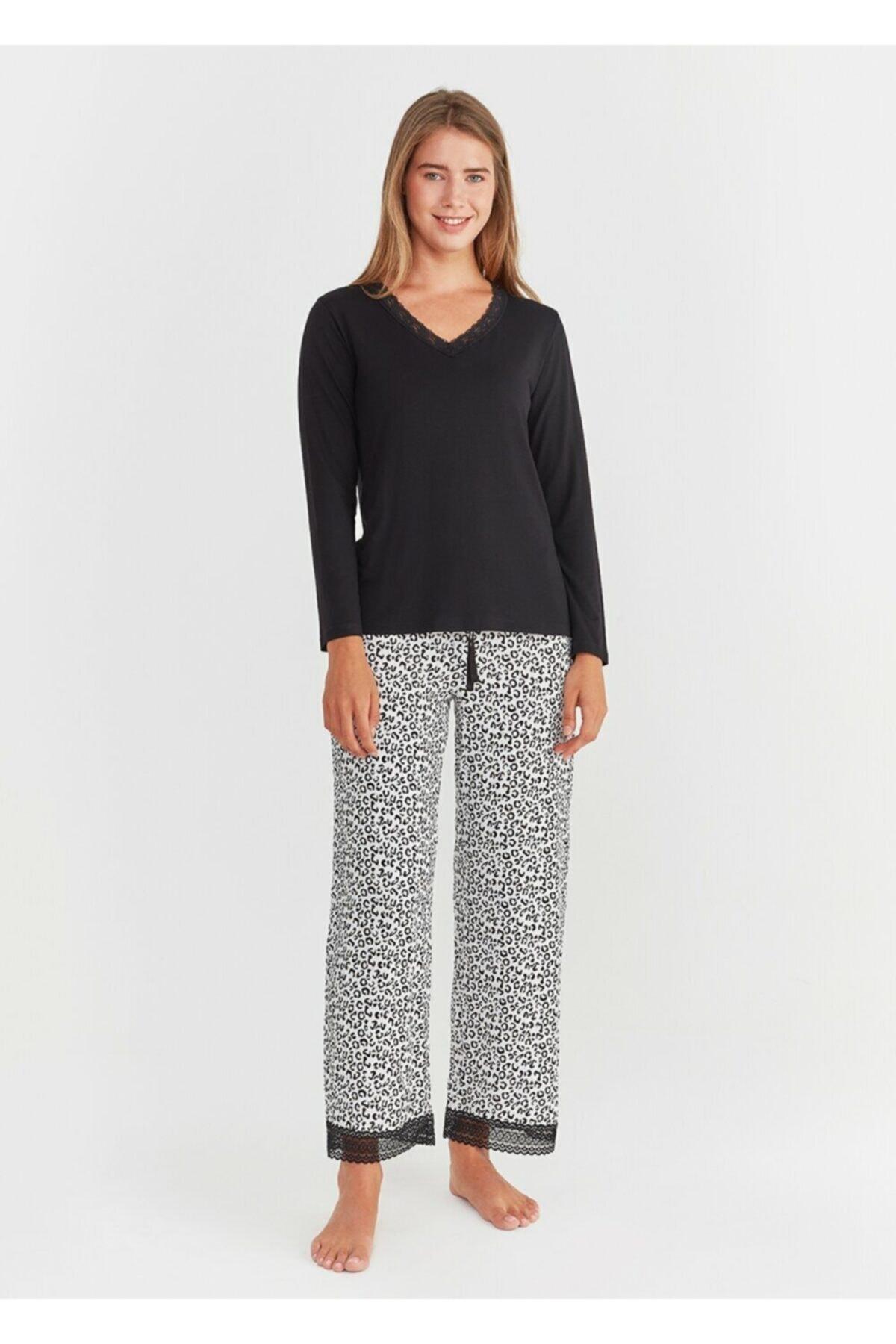SUWEN Kadın Leopar Baskılı Leo Pijama Takımı 2