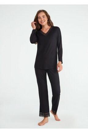 SUWEN Kadın Siyah Crystal Pijama Takımı