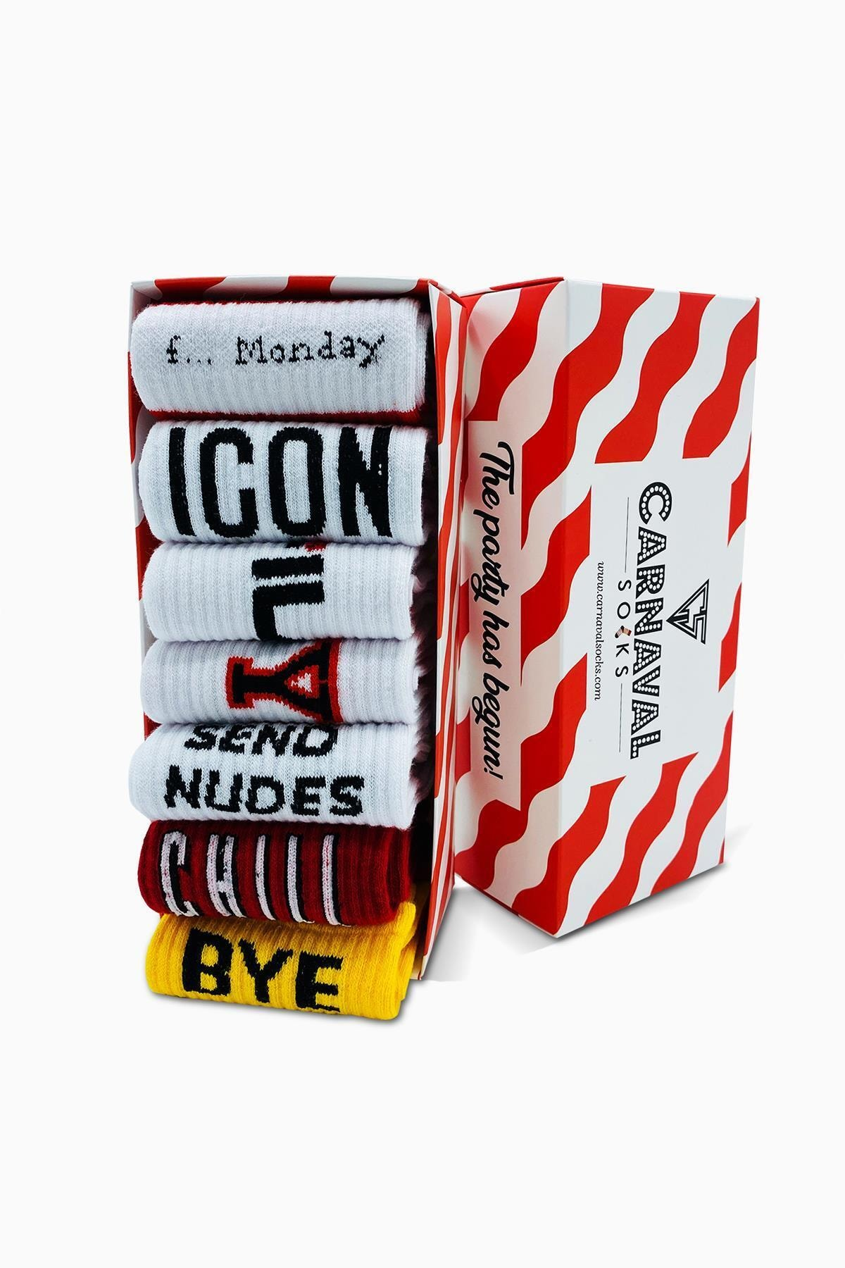 CARNAVAL SOCKS 7'li Nyc Yazılı Desenli Renkli Spor Çorap Set 1