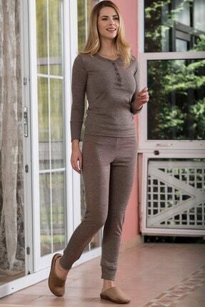 Yeni İnci Kadın Kahverengi Ev Giyim Pijama Takımı