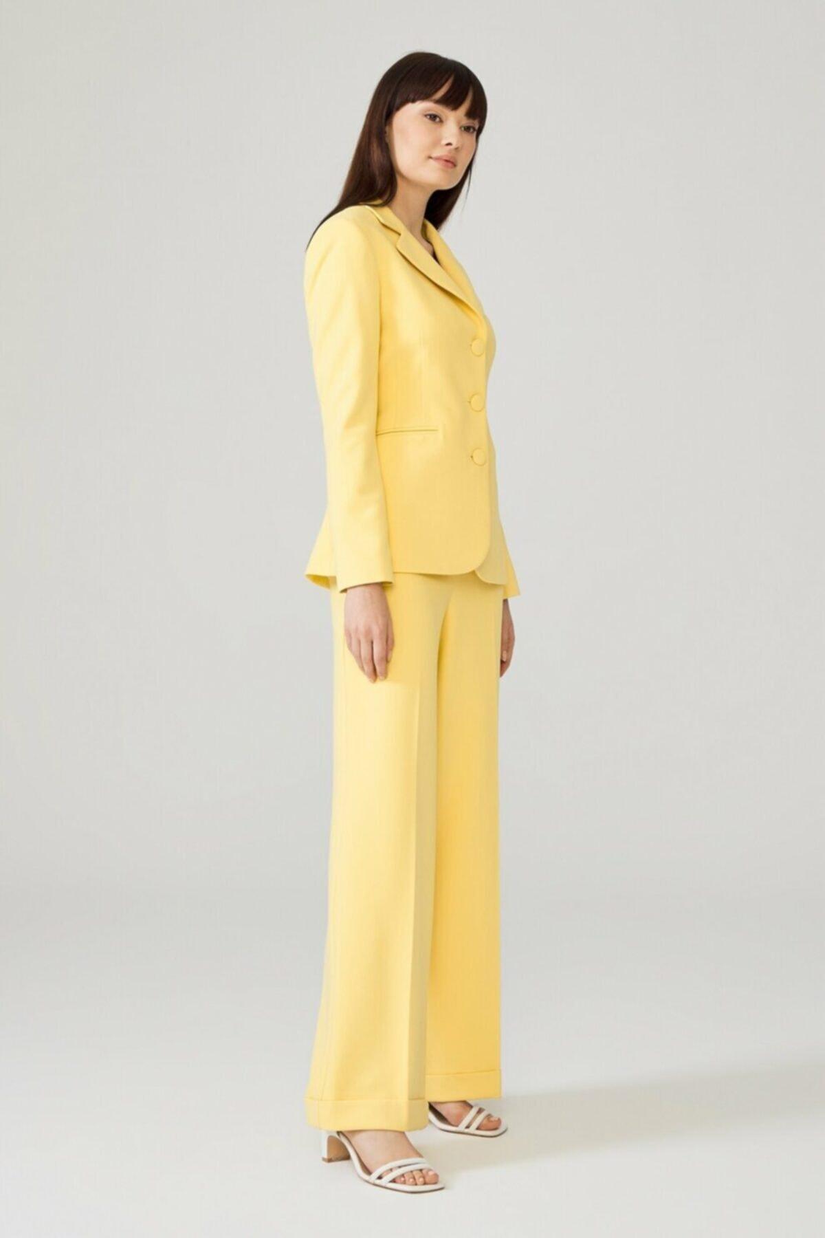 adL Kadın Sarı Duble Paça Pantolon 15338312000004 2