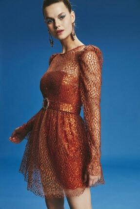 adL Kadın Tarçın Mini Payet Elbise 124C1434000484