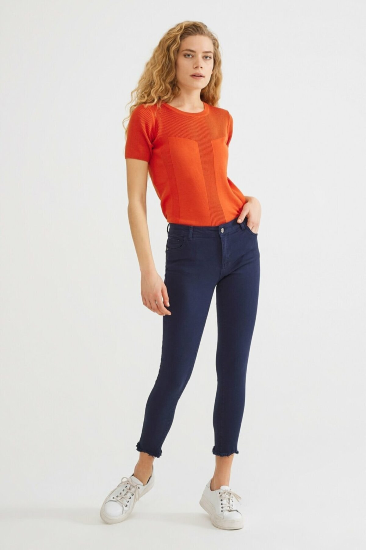 adL Kadın Lacivert Paça Detaylı Pantolon 15336759001018 1