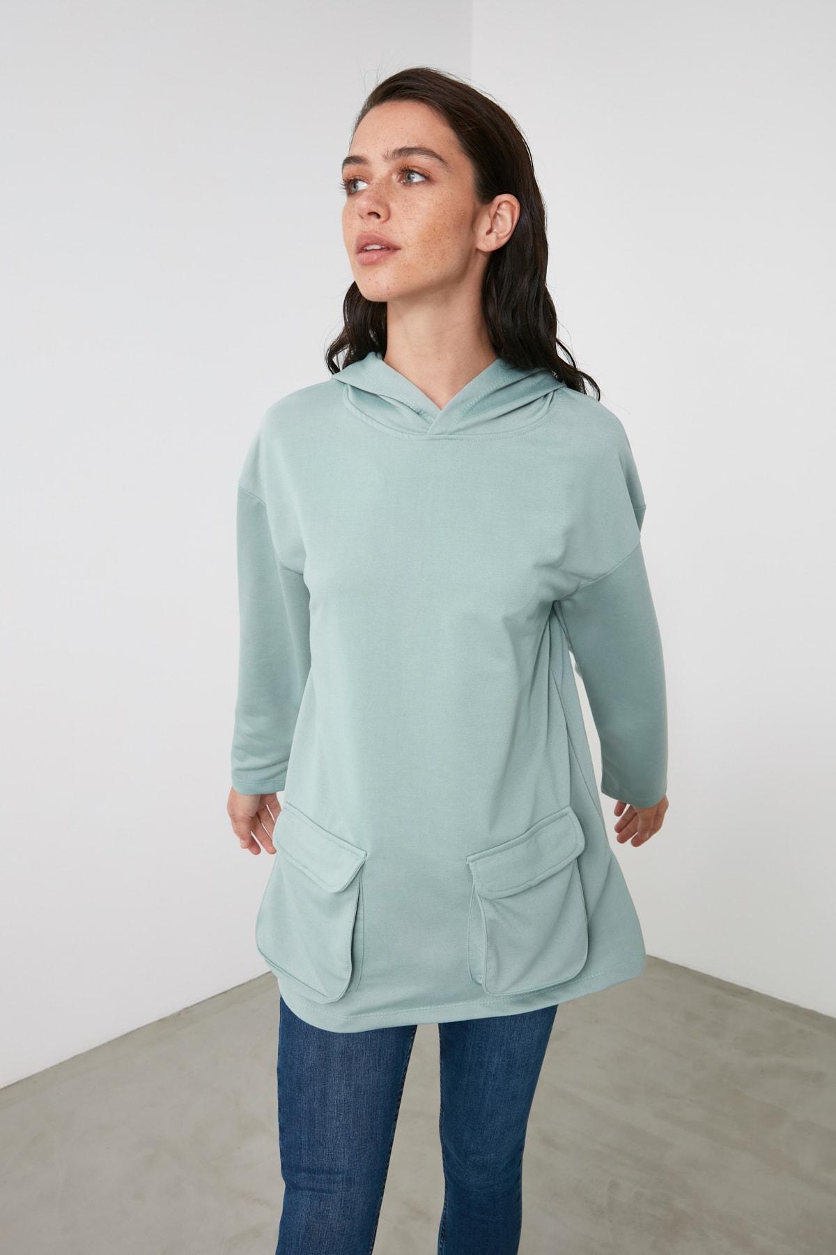 TRENDYOLMİLLA Mint Cep Detaylı Kapüşonlu Örme Sweatshirt TWOAW21SW1318 2