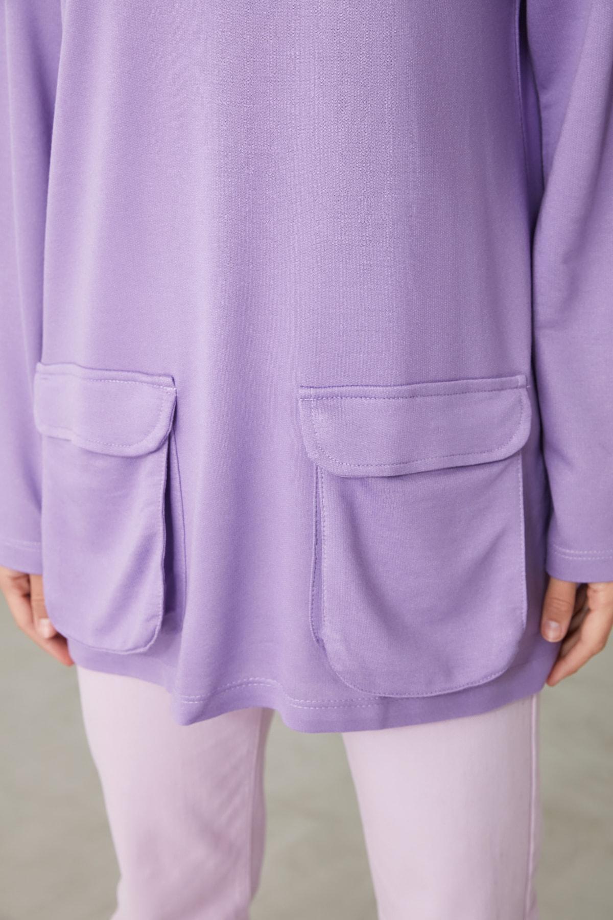 TRENDYOLMİLLA Lila Cep Detaylı Kapüşonlu Örme Sweatshirt TWOAW21SW1318 2