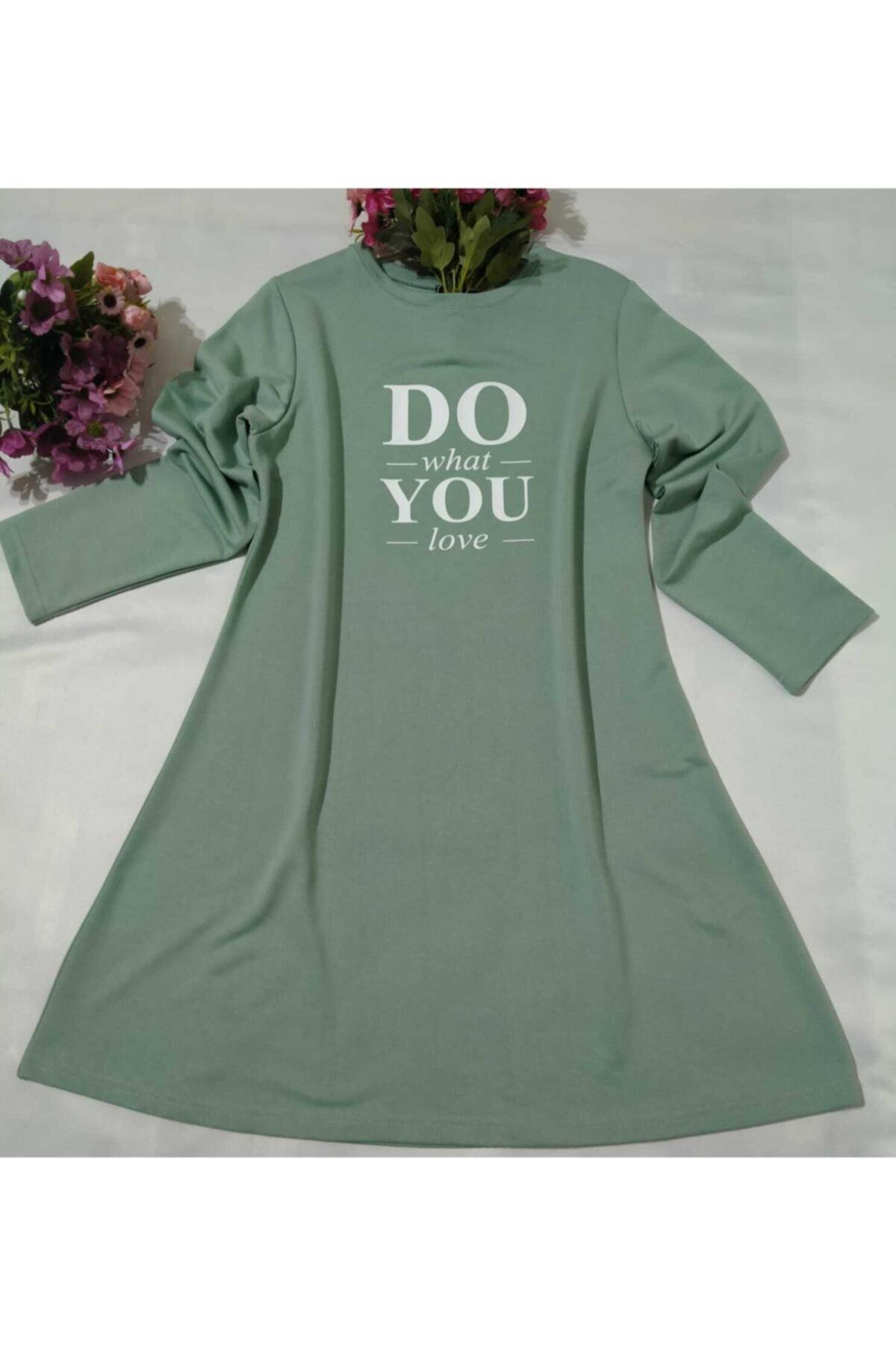 MİSS MODA Kadın Yeşil Dou You Baskılı Iki Ip Sweat 2