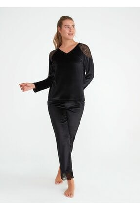 SUWEN Kadın Siyah Shinny Pijama Takımı