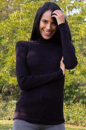 Morpile Kadın Siyah Boğazli Triko Kazak A1213