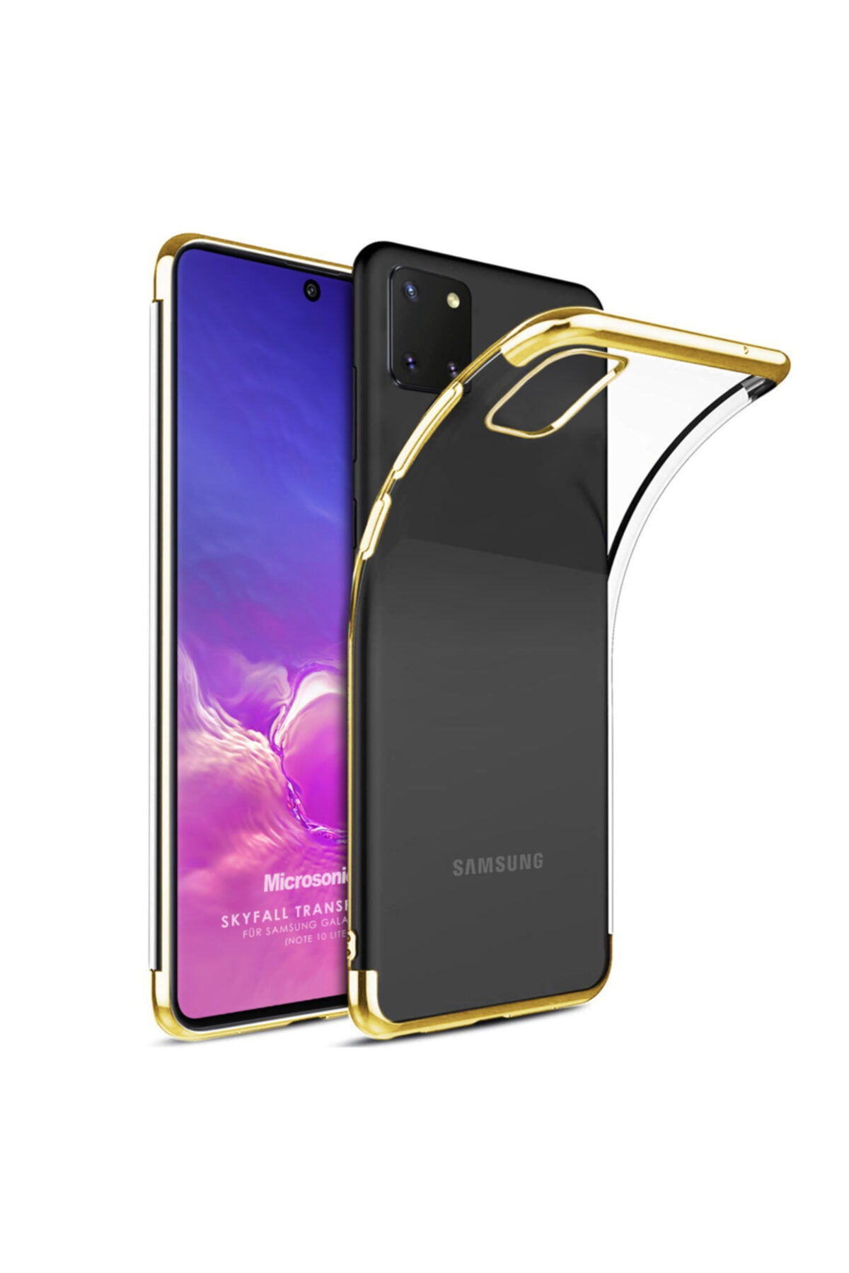 Microsonic Microsonic Galaxy Note 10 Lite Kılıf Skyfall Transparent Clear Gold 1