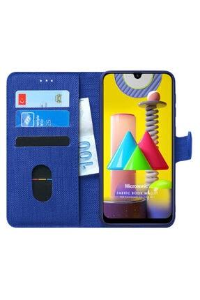 Microsonic Microsonic Galaxy M31 Kılıf Fabric Book Wallet Lacivert