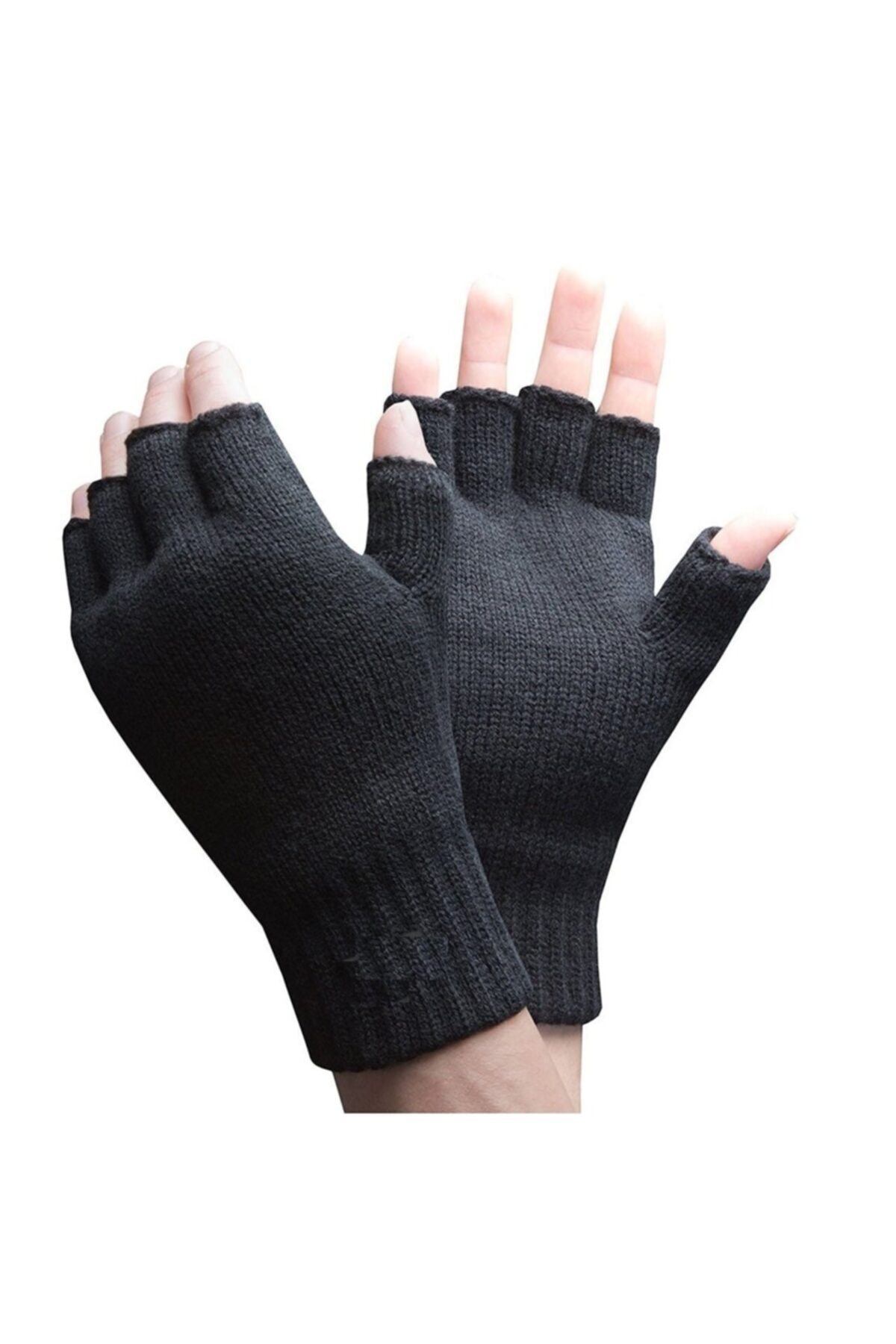 İmerShoes Parmaksız Kesik Yarım Parmak Eldiven Bay Bayan (unisex) Siyah Gri 2