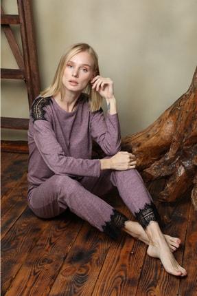 İPEKTENİM TEKSTİL Kadın Pembe Dantel Detaylı Pijama Takım