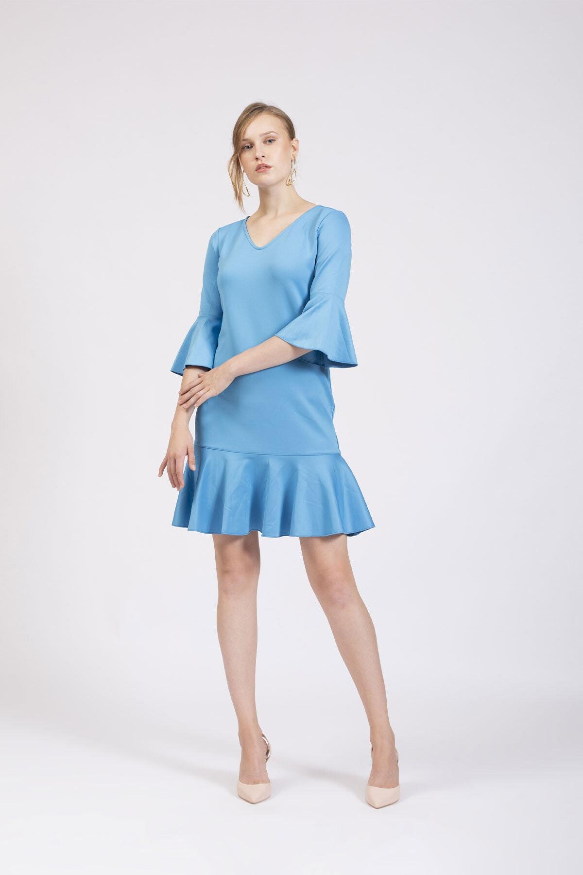 Hanna's by Hanna Darsa Kadın Mavi V Yakalı Kolları Ve Eteği Volanlı Elbise 1