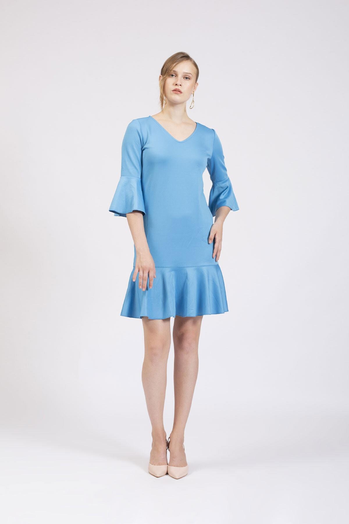 Hanna's by Hanna Darsa Kadın Mavi V Yakalı Kolları Ve Eteği Volanlı Elbise 2