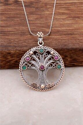 Sümer Telkari Kadın El Yapımı Hayat Ağacı Gümüş Telkari Kolye 953