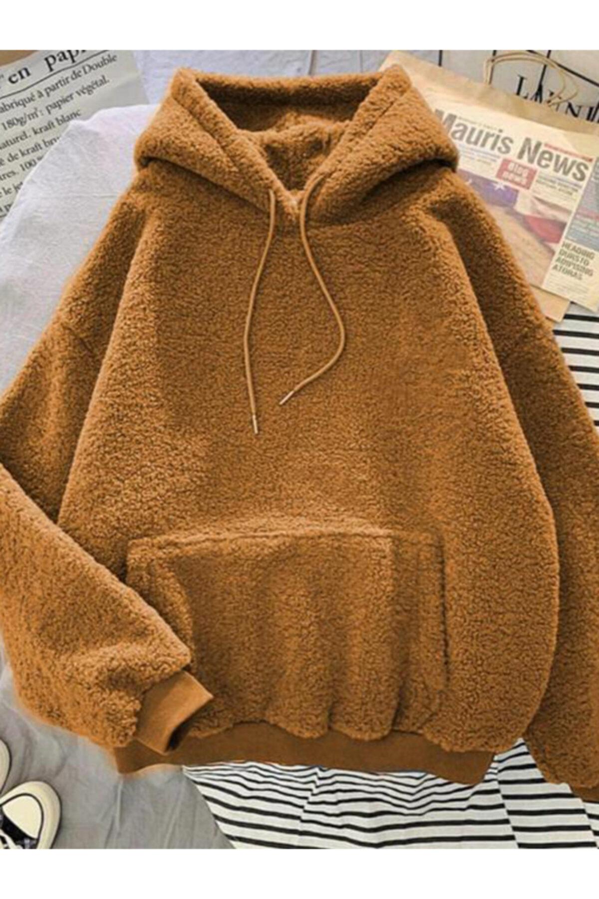 ELBİSENN Kadın Taba Kangru Cepli Kapüşonlu Peluş Sweatshirt 1