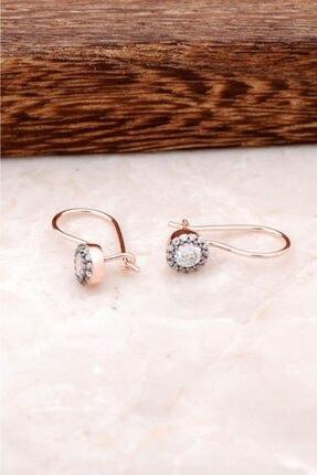 Sümer Telkari Kadın Zirkon Taşlı Rose Gümüş Küpe 2470