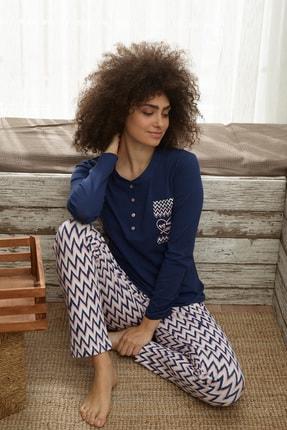 İPEKTENİM TEKSTİL Kadın Lacivert Önden Düğmeli Pijama Takım