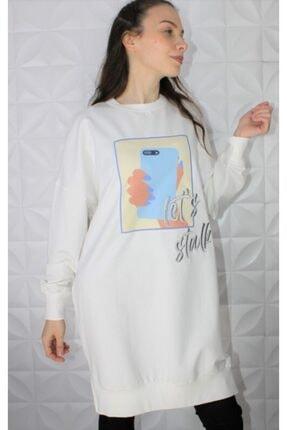 Loreen Kadın Beyaz Baskılı Beyaz Soul Sweatshirt