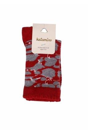 Katamino Kadın Kırmızı Soket Çorap 5403