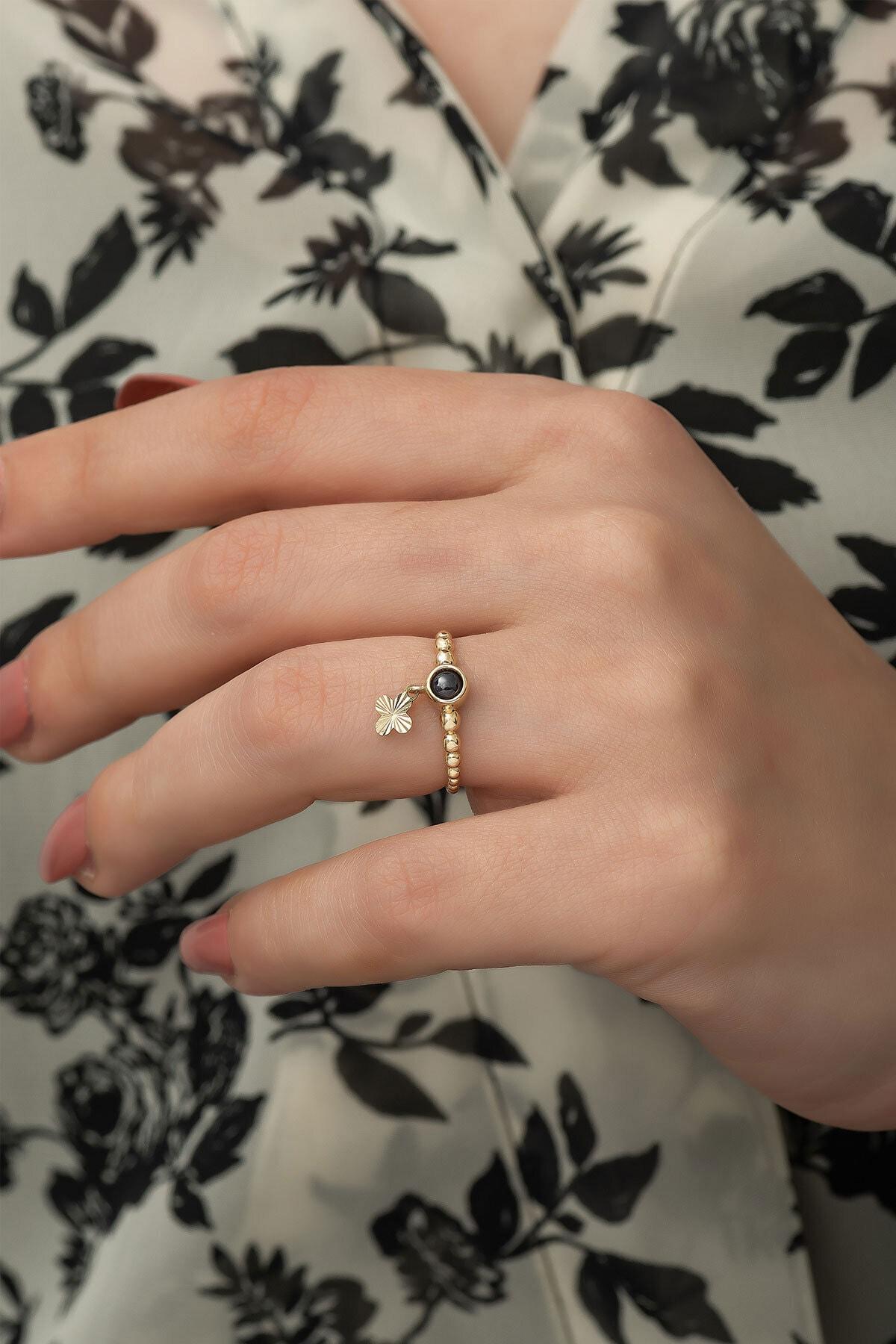 Papatya Silver 925 Ayar Gümüş Rose Altın Kaplama Ay Taşlı Yonca Motifli Kadın Yüzüğü 1