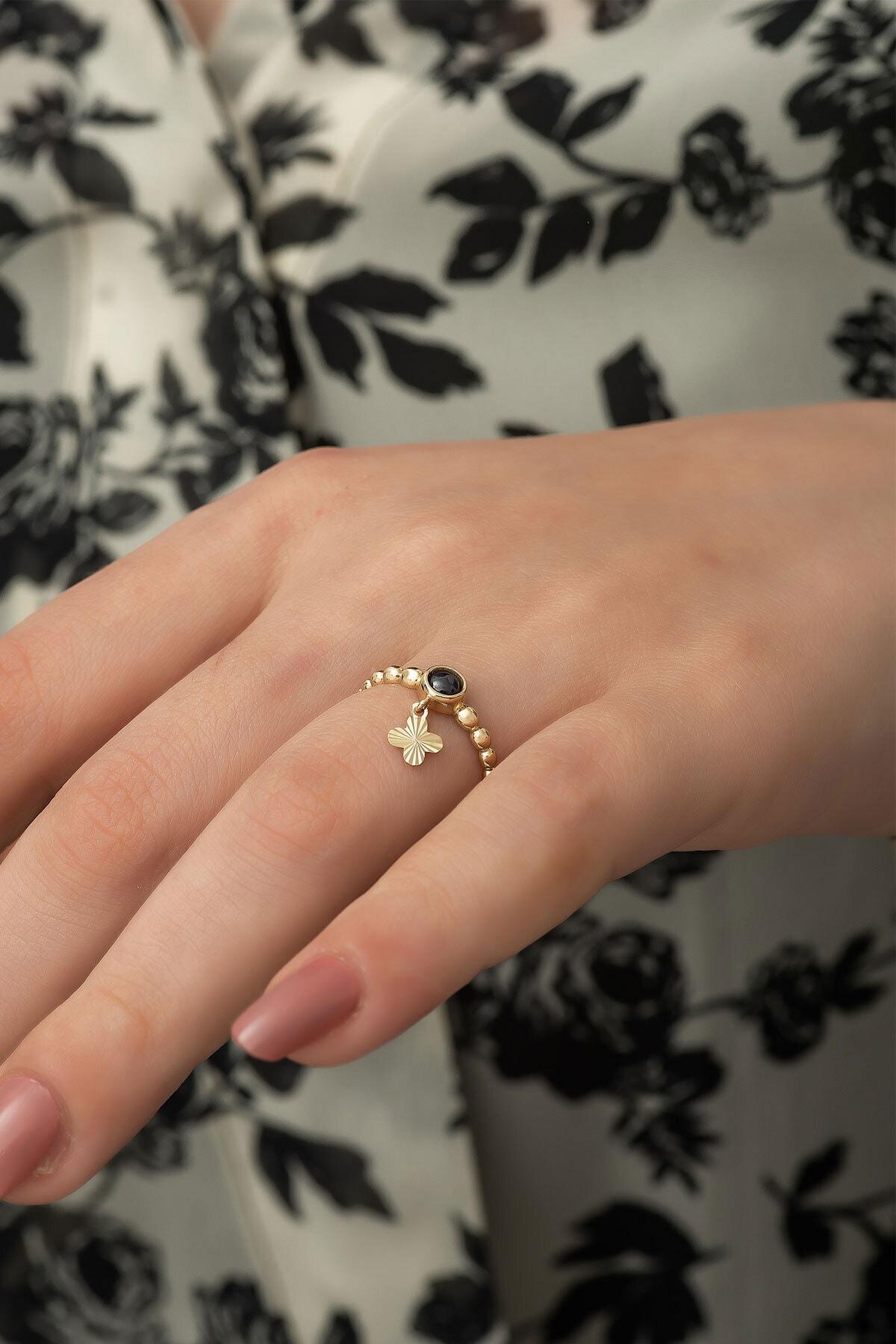 Papatya Silver 925 Ayar Gümüş Rose Altın Kaplama Ay Taşlı Yonca Motifli Kadın Yüzüğü 2