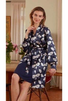 Eros Kadın Lacivert Gecelik Sabahlık Takım Pijama Takımı 22672