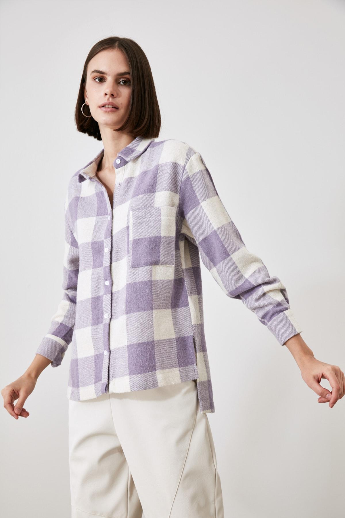 TRENDYOLMİLLA Lila Cep Detaylı Gömlek TWOAW21GO0321 2