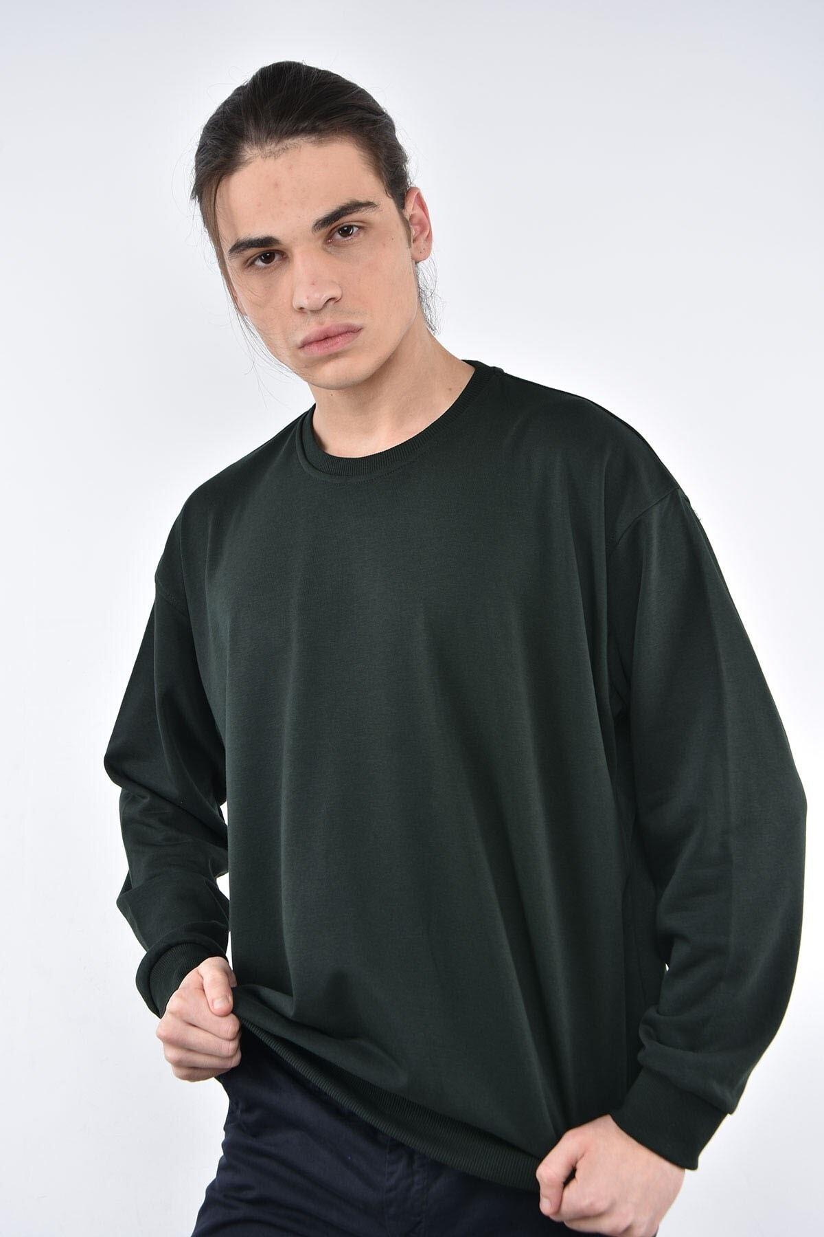 Liwali Erkek Siyah Bisiklet Yaka Oversize Sweatshirt 1