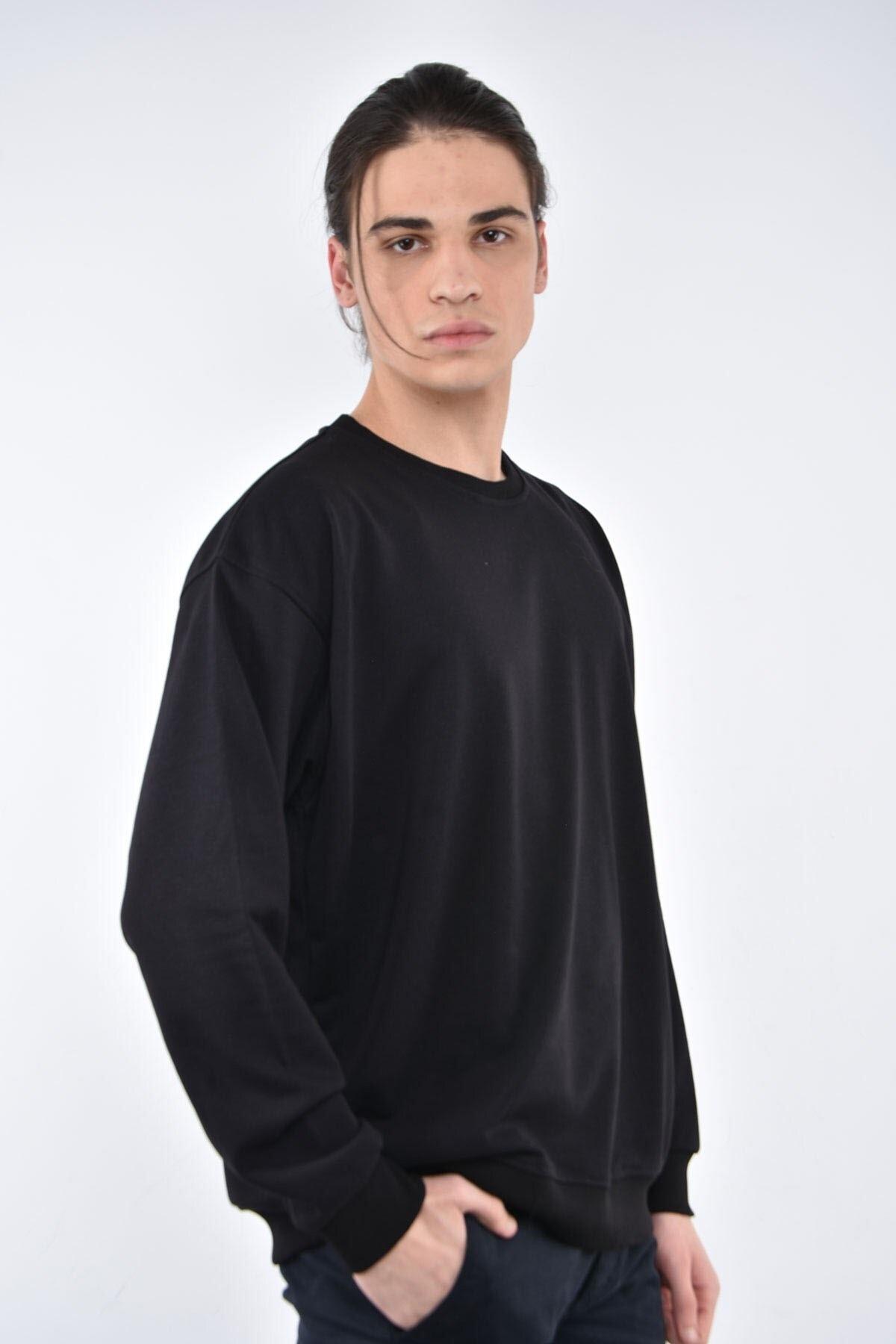 Liwali Erkek Siyah Bisiklet Yaka Oversize Sweatshirt 2