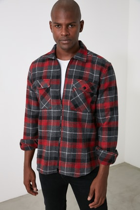 TRENDYOL MAN Bordo Erkek Çift Cep Kapaklı Regular Ceket Gömlek TMNAW21GO0019