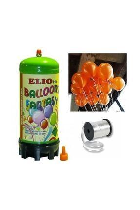 Parti dolabı Helyum Gazı Tüp + 20 Adet Metalik Turuncu Uçan Balon + Ipi