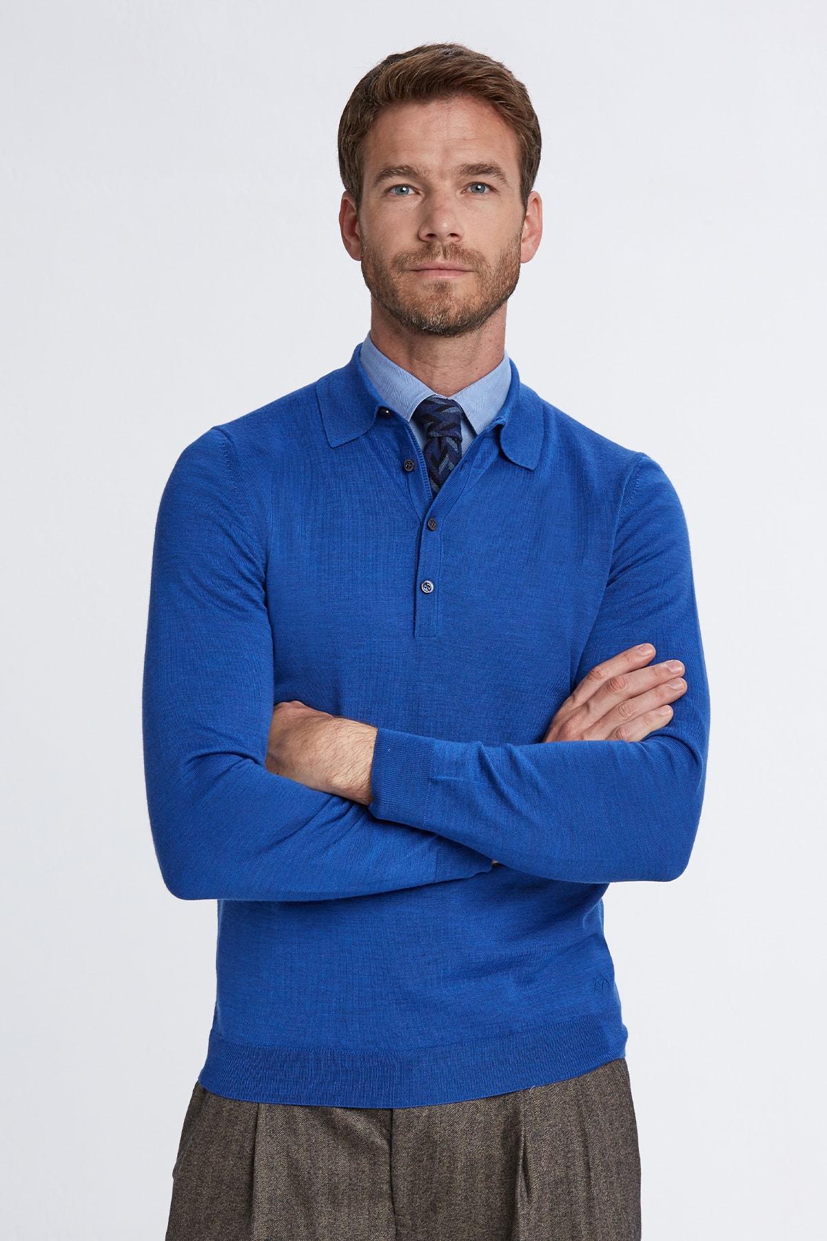 Hemington Erkek Mavi Polo Yaka Merino Yün Triko 1