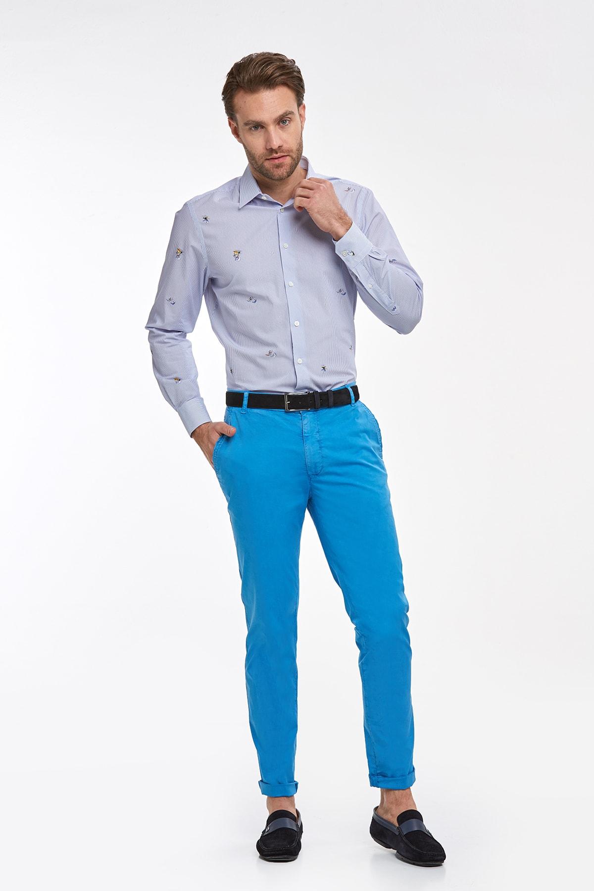 Hemington Erkek Lacivert Desenli Yazlık Pamuk Gömlek 2